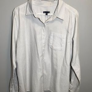 gap blouse with with blue and gray stripes women